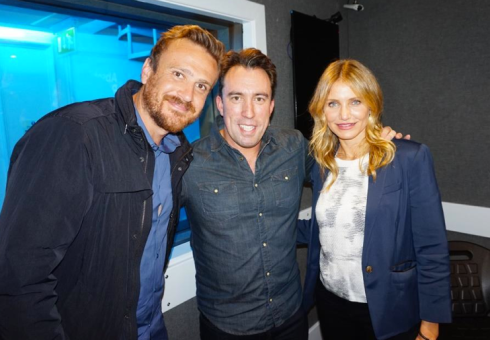 (l-r) Jason Segal, Christian O'Connell, Cameron Diaz. No Bees