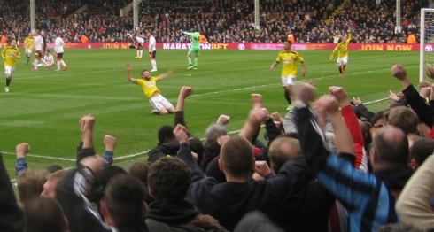 View from the stand - Stuart Dallas celebrates doing that thing.....